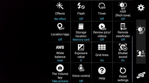 Camera Menu on the Samsung Galaxy s5